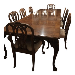 Karges Mahogany Burlwood Dining Table & Chairs For Sale