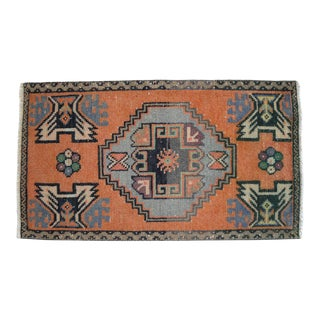 "Hand Made Oushak Rug Mat Distressed Small Rug Kitchen Mat - 1'8"" X 2'11"" For Sale"