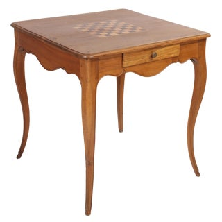 18th Century Louis XV Walnut Game Table With Inlay For Sale