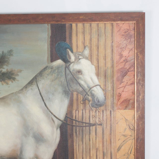 Evocative mid century oil painting on canvas of a white horse standing in front of classical fluted columns set in front...