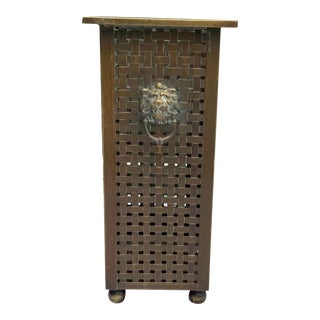 Italian Woven Brass Umbrella Stand For Sale