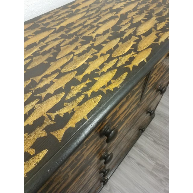 Late 19th Century Antique English Fish Decoupage Chest of Drawers For Sale - Image 5 of 13
