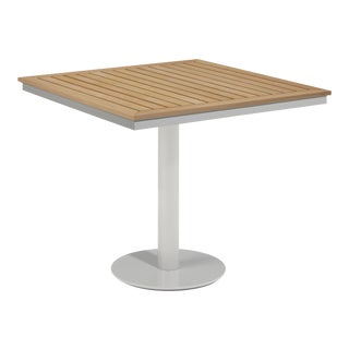 """34"""" Square Outdoor Bistro Table, Natural For Sale"""