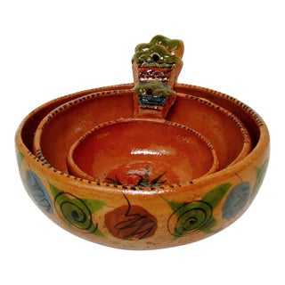 Mexican Redware Bowls, Set of 3 For Sale