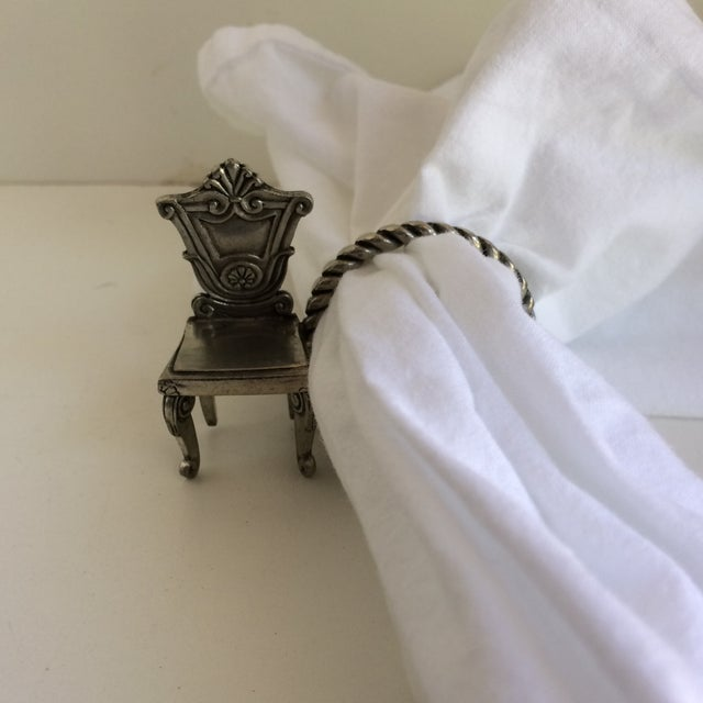 8 Vintage Pewter Victorian Chair Napkin Rings For Sale - Image 10 of 12