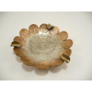 Vintage Brass & Copper Coin Aztec Calendar Ashtray Preview