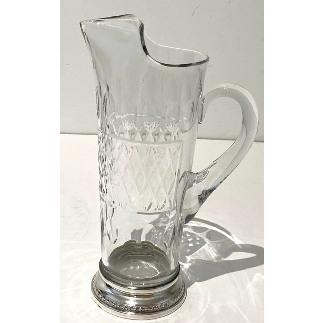 Vintage Glass and Sterling Pitcher with English Halmarks and sterling imprint