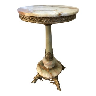 Vintage Mid Century French Empire-Style Onyx Circular Pedestal Table For Sale