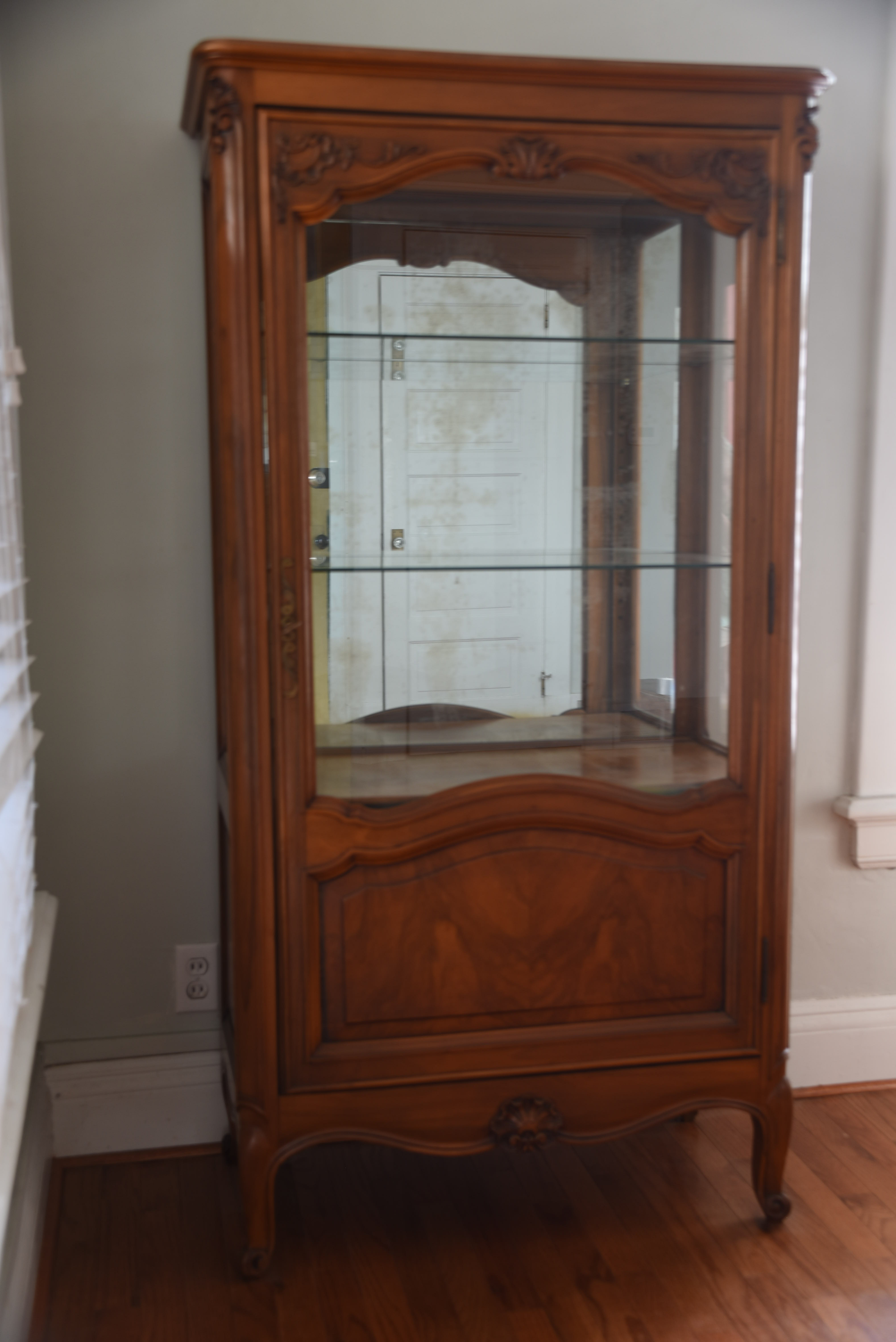 French Louis XV Style Cherry Wood Curio Cabinet   Image 4 Of 4