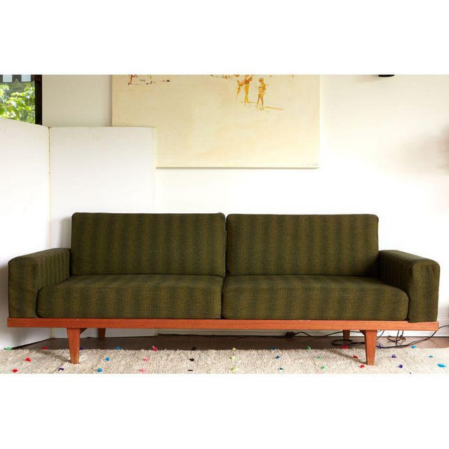 Vintage Danish Modern Green Striped Wool Couch For Sale - Image 9 of 9