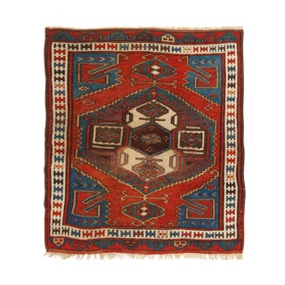 1900s Traditional Bergama Geometric Red and Blue Wool Rug For Sale