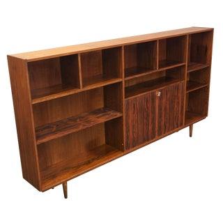 Original Danish Mid Century Long Rosewood Bookcase - Kristiansand For Sale