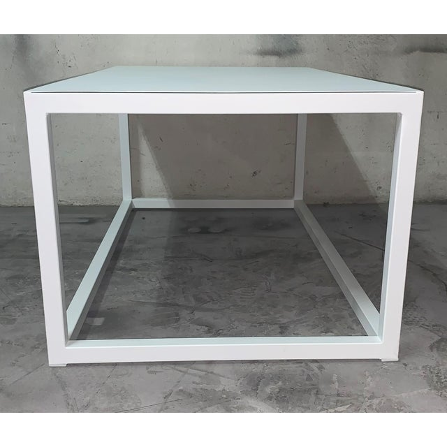 Modern New Modern Rectangular White Table With Metal Top, Indoor or Outdoor For Sale - Image 3 of 12