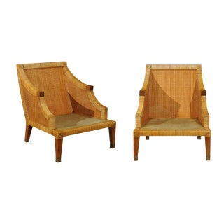 Stellar Restored Pair of Vintage Cane Wrapped Club Chairs by Bielecky Brothers For Sale