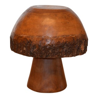 Whimsical Mushroom Table With Bark Trim For Sale