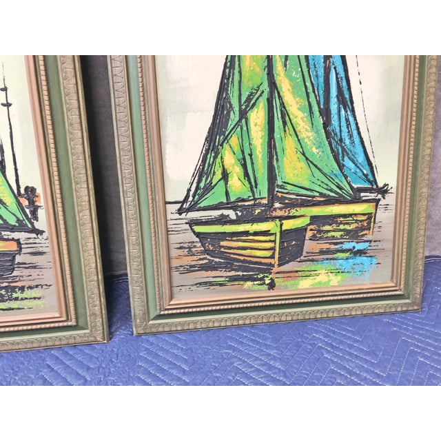 1960s Mid Century Modern Green Sailboat Signed and Framed Prints - a Pair For Sale - Image 5 of 10