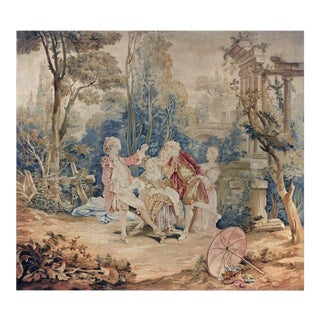 "18th Century Antique Tapestry Designed by François Boucher - ""Garden Games"" For Sale"