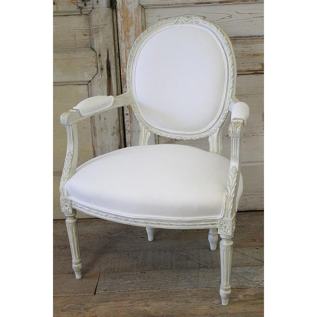 20th Century Louis XVI French Light Gray Armchair - Image 2 of 6