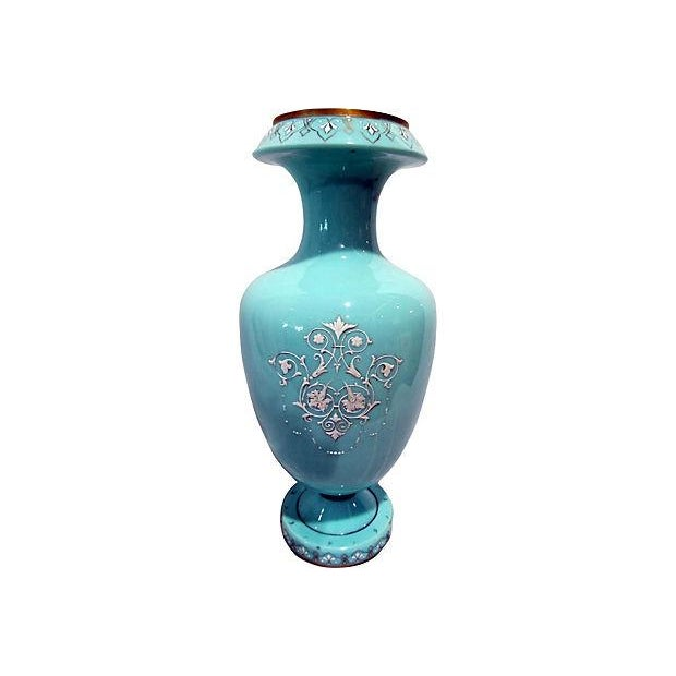 Rococo Hand-Painted Bristol Vase For Sale - Image 3 of 7