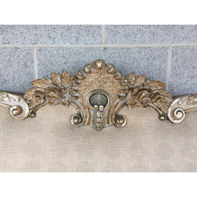 French Richard Wheelwright Padded King Size Hand Carved Headboard For Sale - Image 3 of 9