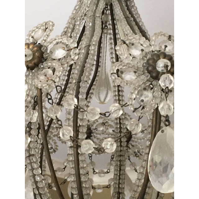 Glass flower beaded copper and glass chandelier. Italia-style made in the late 20th century.