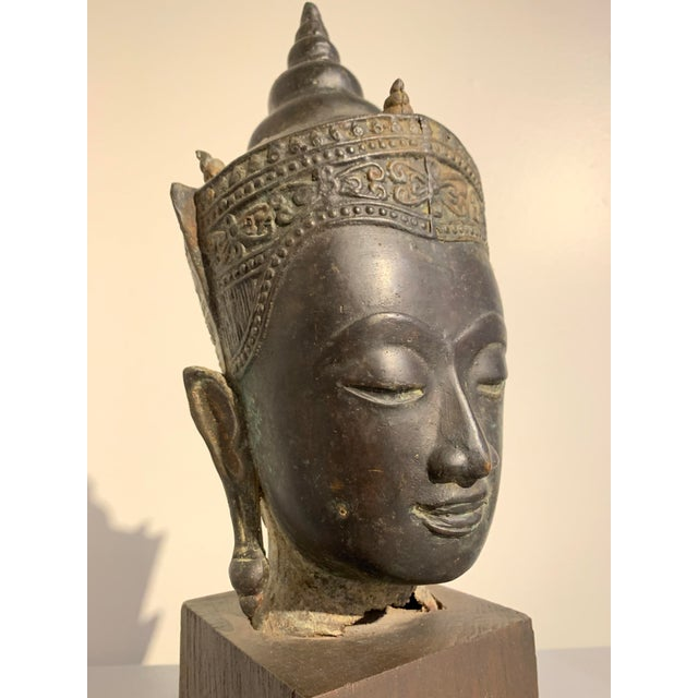 Vintage Thai Ayutthaya Style Bronze Buddha Head For Sale In Austin - Image 6 of 11
