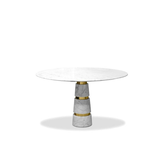 Minimalistic design and minute details, like the glamorous silver bands on the Avalanche leg, bring the Avalanche Dining...