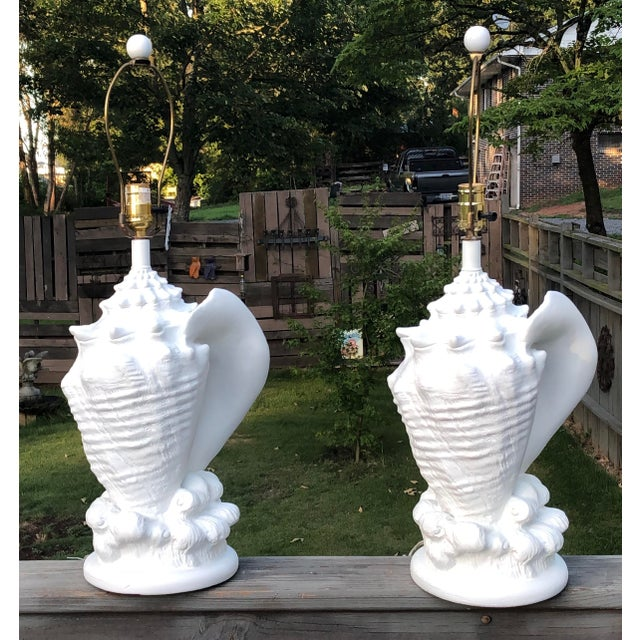 Plaster Vintage Conch Shell Plaster Lamps - a Pair For Sale - Image 7 of 7