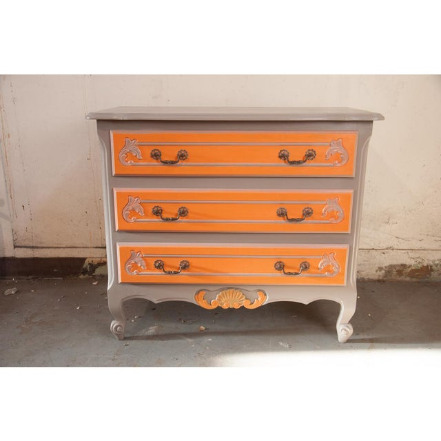 Vintage 3 drawer chest from the Brittany region of France. Recently painted by a French Faux Finisher. The hardware is...