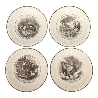 French Digoin Serreguemines Transferware Fontaine Fable Plates - Set of 4 For Sale