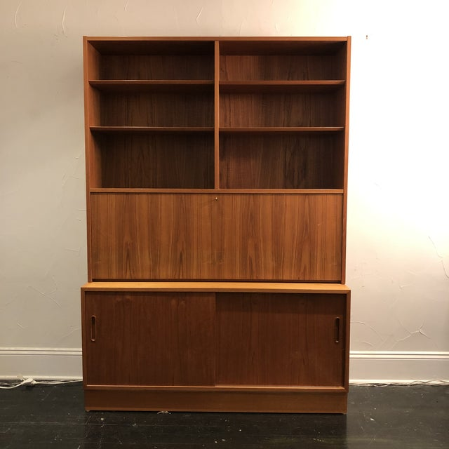 Hundrvad Danish Teak Wall Unit With Drop Down Desk - 2 Pieces For Sale - Image 13 of 13