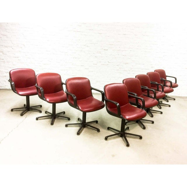 Set of 8 Mid-Century Burgundy Red Leather Executive Chairs by Comforto For Sale - Image 11 of 11