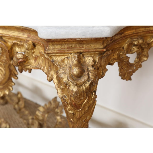 Giltwood Gold Gilt Console With Custom Cut Marble Top For Sale - Image 7 of 12
