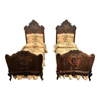 Pair Antique French Museum Quality Walnut Beds, Circa 1860-1880. One of the Finest Examples of Wood Carver's Art of the 19th Century. For Sale