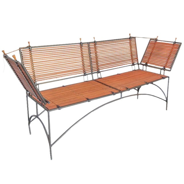 Iron Framed Reeded Knole Style Bench or Settee For Sale
