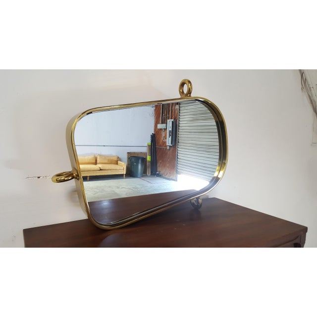 Hollywood Regency Vintage Brass Nautical Mirror For Sale - Image 3 of 11