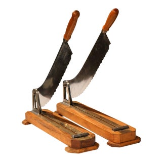 19th Century French Wood and Metal Bread Cutters - a Pair