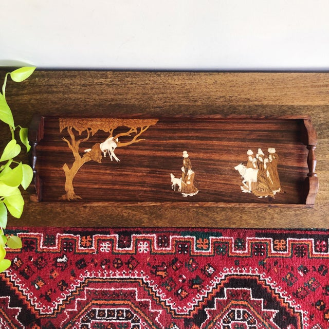 Vintage Indian Marquetry Wooden Tray For Sale - Image 4 of 9