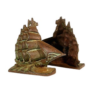 1950s Iron Pirate Ship Bookends, Pair