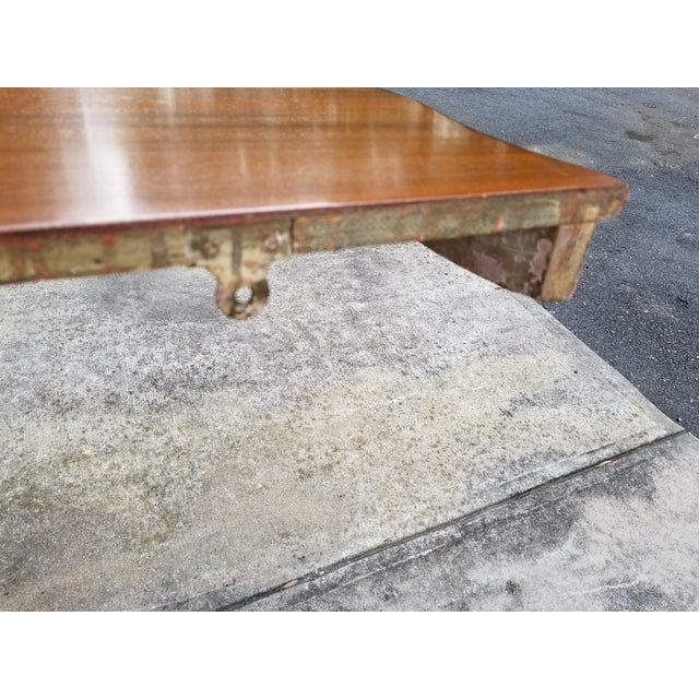 Mid 18th Century Antique French Carved Wood & Mahagony Console Table For Sale - Image 5 of 10
