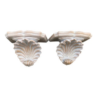 Vintage Scalloped Shell Sconces-Pair For Sale
