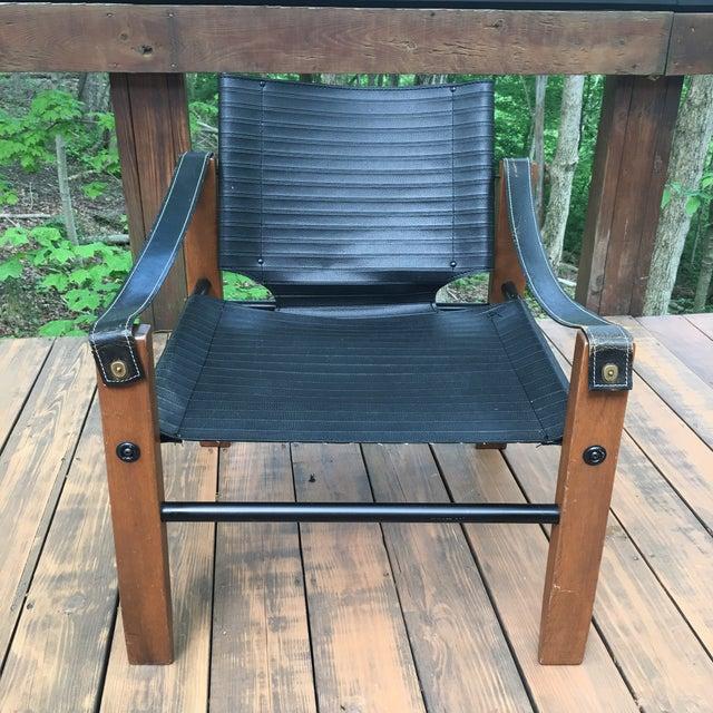 Sirocco Safari Black Vinyl & Leather Arms Chair - Image 3 of 10