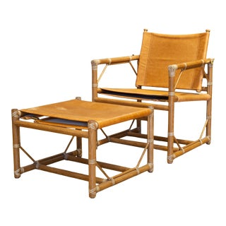 McGuire Leather and Teak Officer's Chair and Ottoman C. 1980s- 2 Pieces For Sale