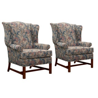 20th Century Traditional Steelcase Wingback Chairs - a Pair For Sale