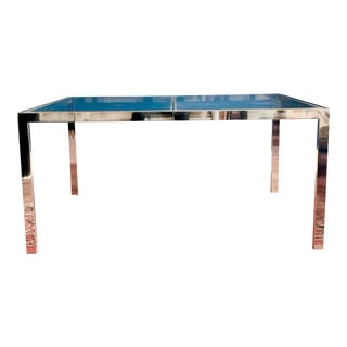 Vintage 1970s Brass and Glass Dining Table From Milo Baughman for Dia For Sale