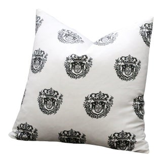 Spanish Crest Black & Ivory Euro Pillow Cover 26x26 For Sale