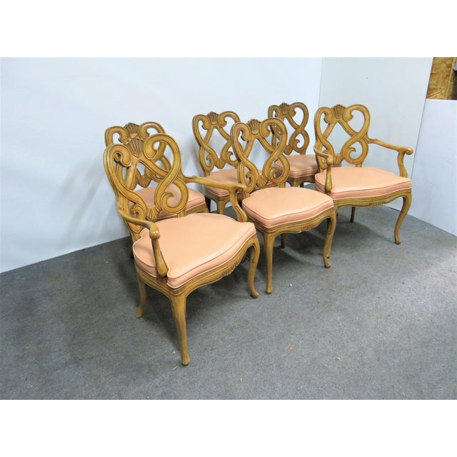 High Quality set of six Louis xv Style dining room chairs. Solid maple frames with scroll back carved shell designs. Arm...