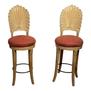 Italian Scallop Shell Carved Wood Back Bar Stools - A Pair For Sale