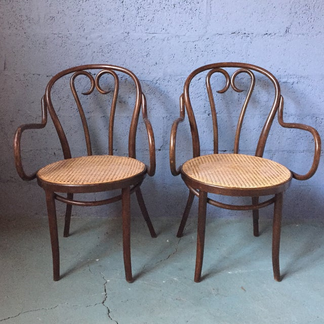 Thonet Bentwood Armchairs With Cane Seats - A Pair - Image 2 of 11
