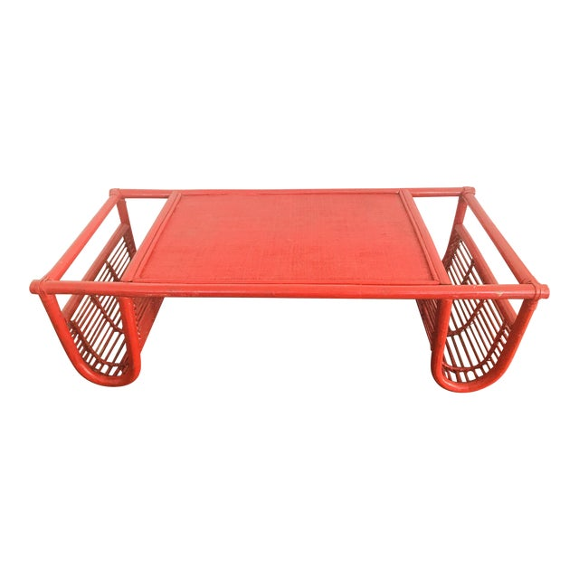 Vintage Red Bamboo Tray Table or Magazine Rack - Image 1 of 5